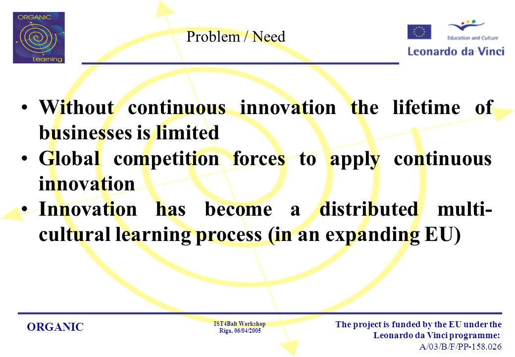 ORGANIC IST4Balt Workshop Riga, 06/04/2005 The project is funded by the EU under the Leonardo da Vinci programme: A/03/B/F/PP Problem / Need Without continuous innovation the lifetime of businesses is limited Global competition forces to apply continuous innovation Innovation has become a distributed multi- cultural learning process (in an expanding EU)