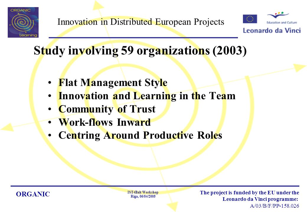 ORGANIC IST4Balt Workshop Riga, 06/04/2005 The project is funded by the EU under the Leonardo da Vinci programme: A/03/B/F/PP Innovation in Distributed European Projects Flat Management Style Innovation and Learning in the Team Community of Trust Work-flows Inward Centring Around Productive Roles Study involving 59 organizations (2003)
