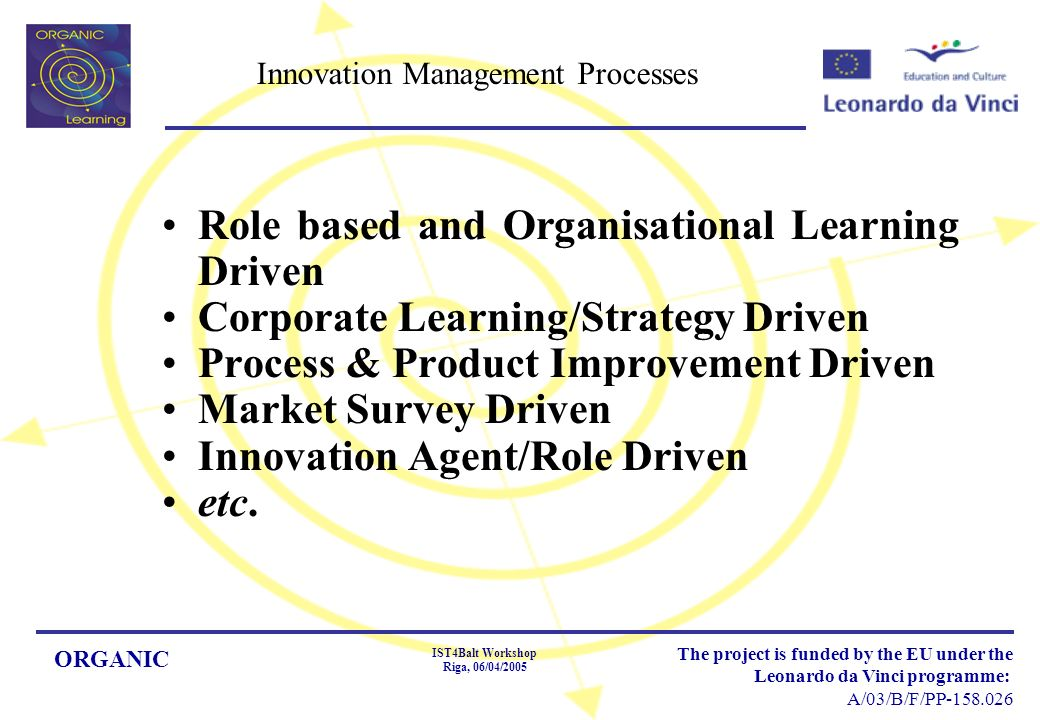 ORGANIC IST4Balt Workshop Riga, 06/04/2005 The project is funded by the EU under the Leonardo da Vinci programme: A/03/B/F/PP Innovation Management Processes Role based and Organisational Learning Driven Corporate Learning/Strategy Driven Process & Product Improvement Driven Market Survey Driven Innovation Agent/Role Driven etc.