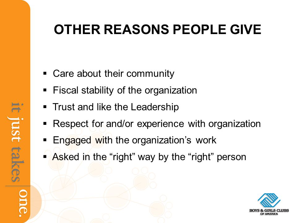 OTHER REASONS PEOPLE GIVE Care about their community Fiscal stability of the organization Trust and like the Leadership Respect for and/or experience with organization Engaged with the organizations work Asked in the right way by the right person