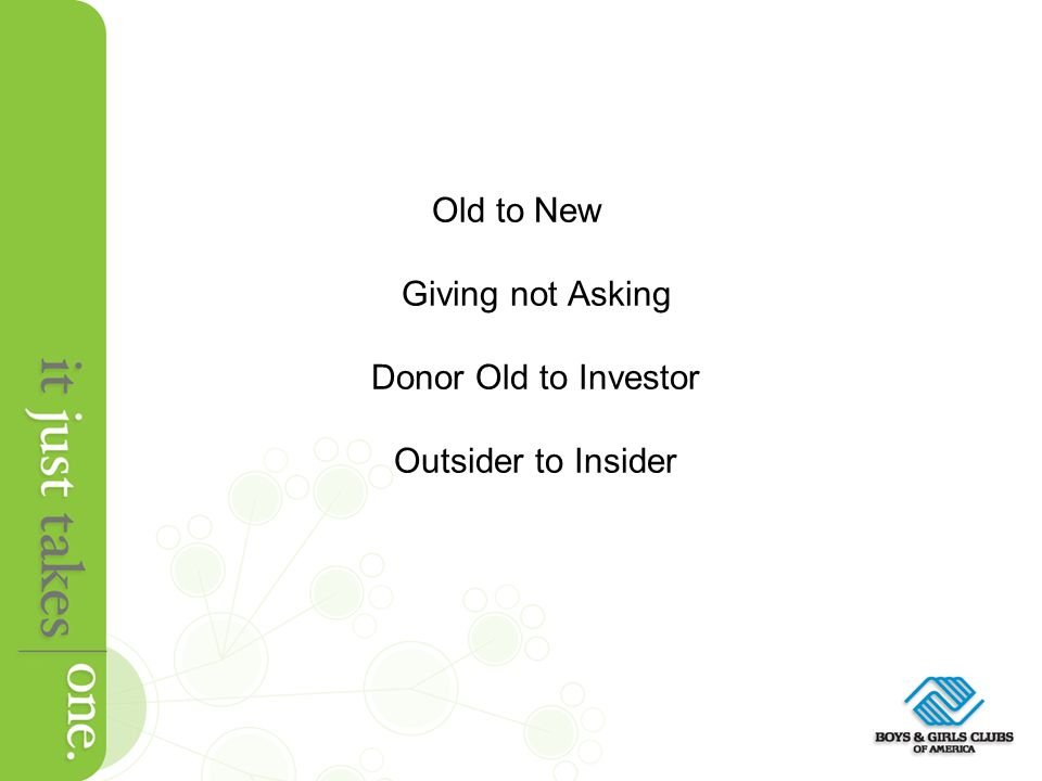 Old to New Giving not Asking Donor Old to Investor Outsider to Insider