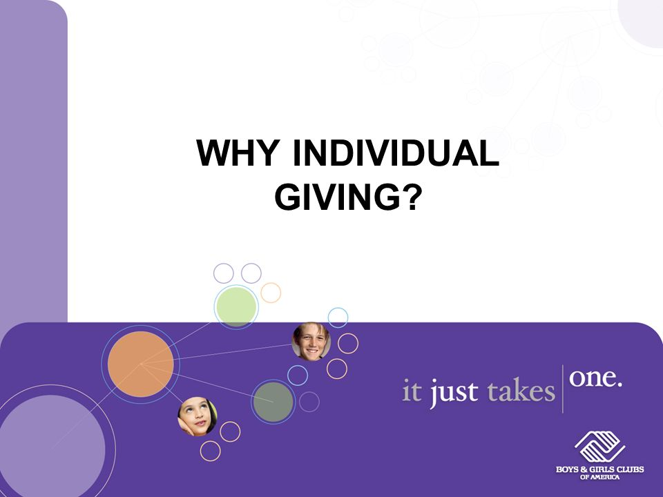 WHY INDIVIDUAL GIVING