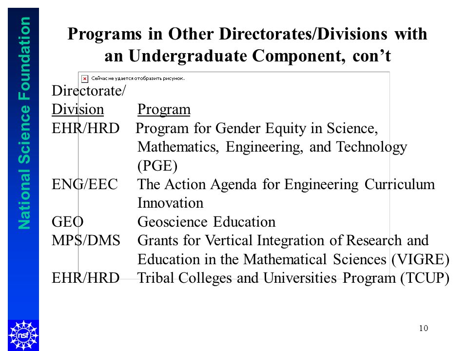 National Science Foundation 10 Programs in Other Directorates/Divisions with an Undergraduate Component, cont Directorate/ Division Program EHR/HRD Program for Gender Equity in Science, Mathematics, Engineering, and Technology (PGE) ENG/EEC The Action Agenda for Engineering Curriculum Innovation GEO Geoscience Education MPS/DMS Grants for Vertical Integration of Research and Education in the Mathematical Sciences (VIGRE) EHR/HRD Tribal Colleges and Universities Program (TCUP)