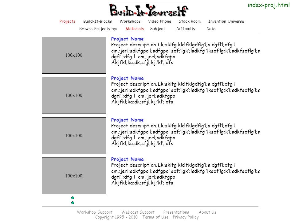 Project Name Project description.