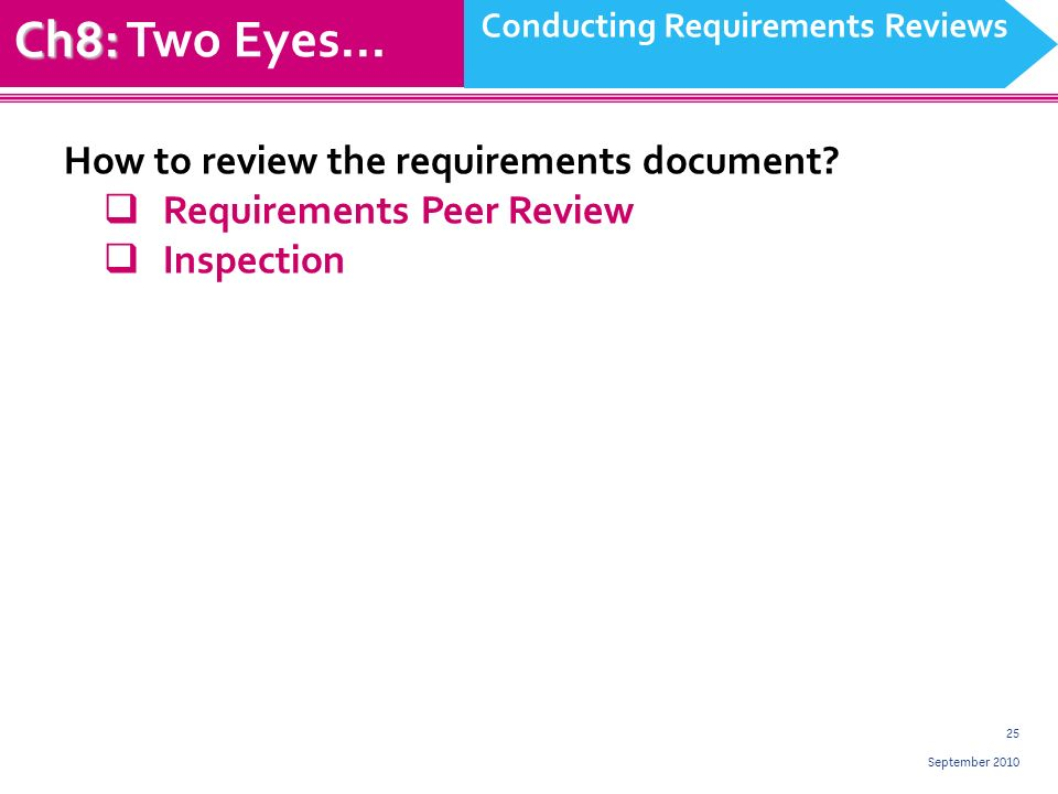 25 September 2010 Ch8: Ch8: Two Eyes… Conducting Requirements Reviews How to review the requirements document.
