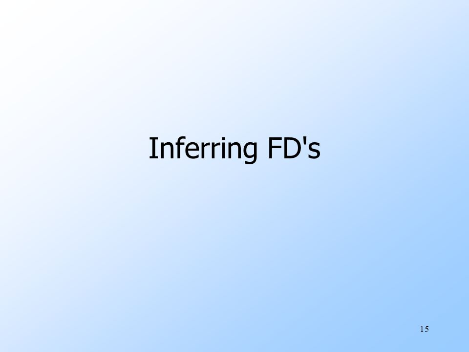 15 Inferring FD s