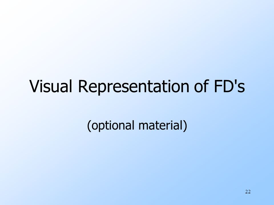 22 Visual Representation of FD s (optional material)