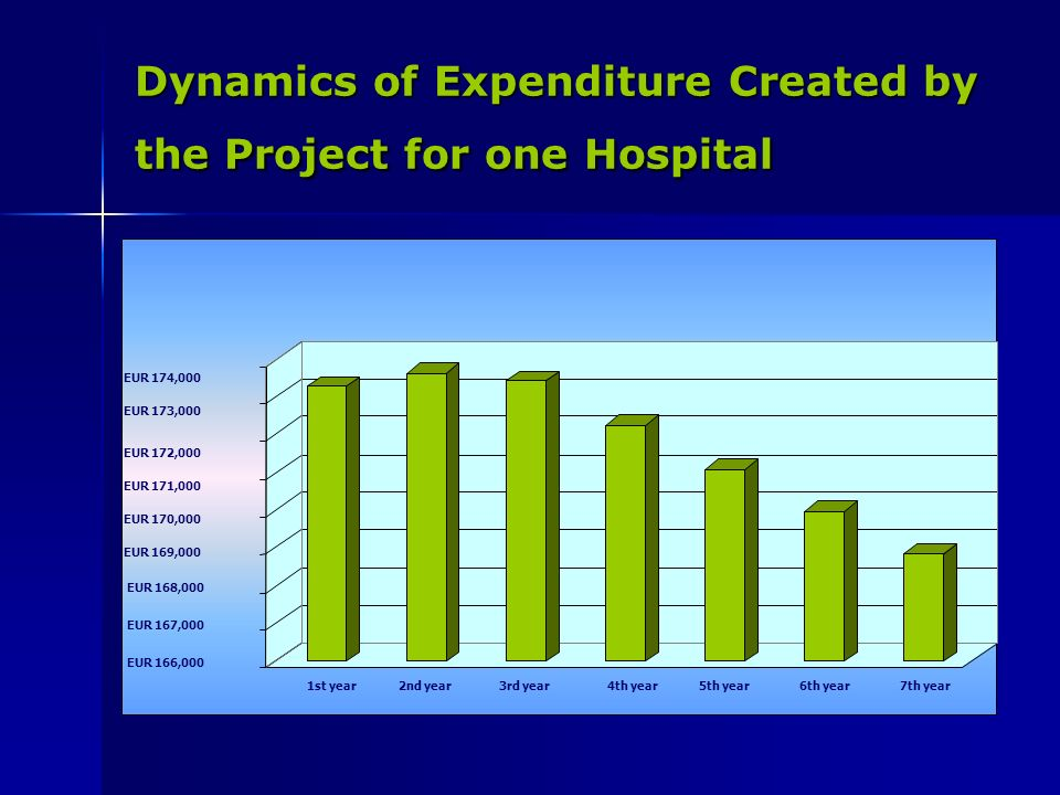 Dynamics of Expenditure Created by the Project for one Hospital EUR 169,000 EUR 170,000 EUR 171,000 EUR 172,000 EUR 173,000 EUR 174,000 1st year2nd year3rd year4th year5th year6th year7th year