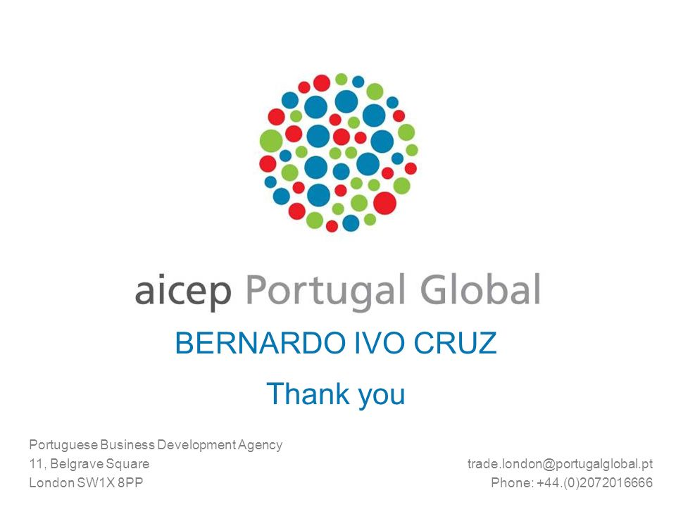 BERNARDO IVO CRUZ Thank you Portuguese Business Development Agency 11, Belgrave Square London SW1X 8PP Phone: +44.(0)