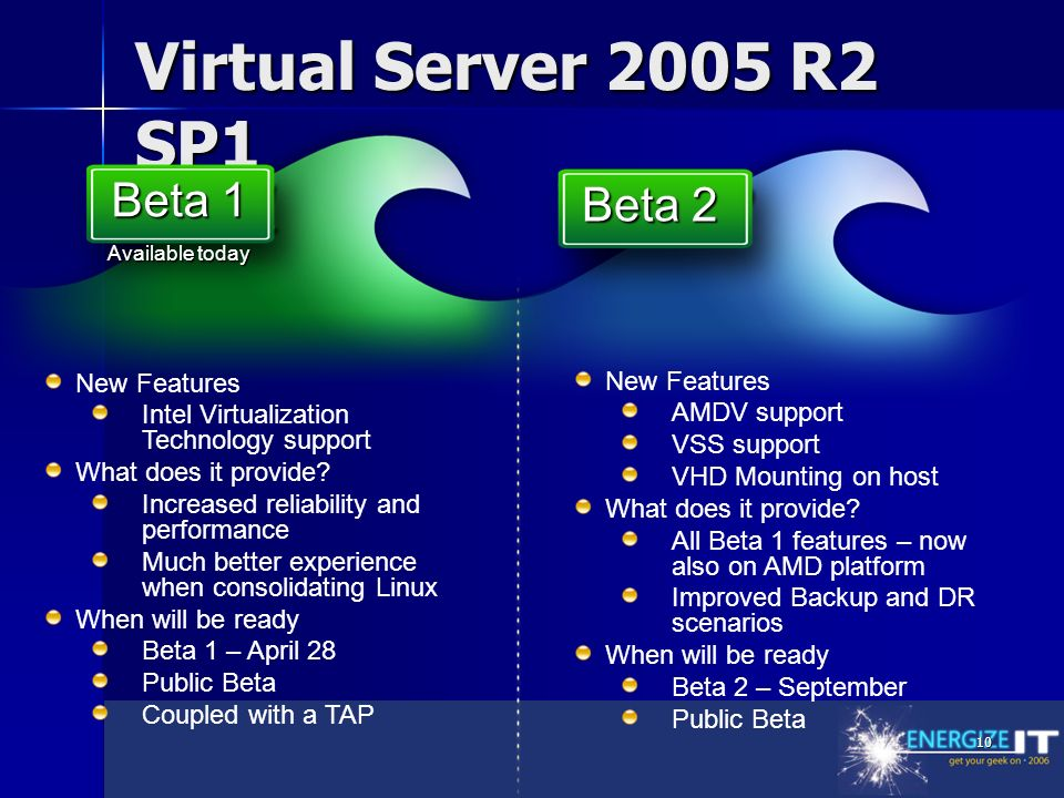 10 Virtual Server 2005 R2 SP1 New Features Intel Virtualization Technology support What does it provide.