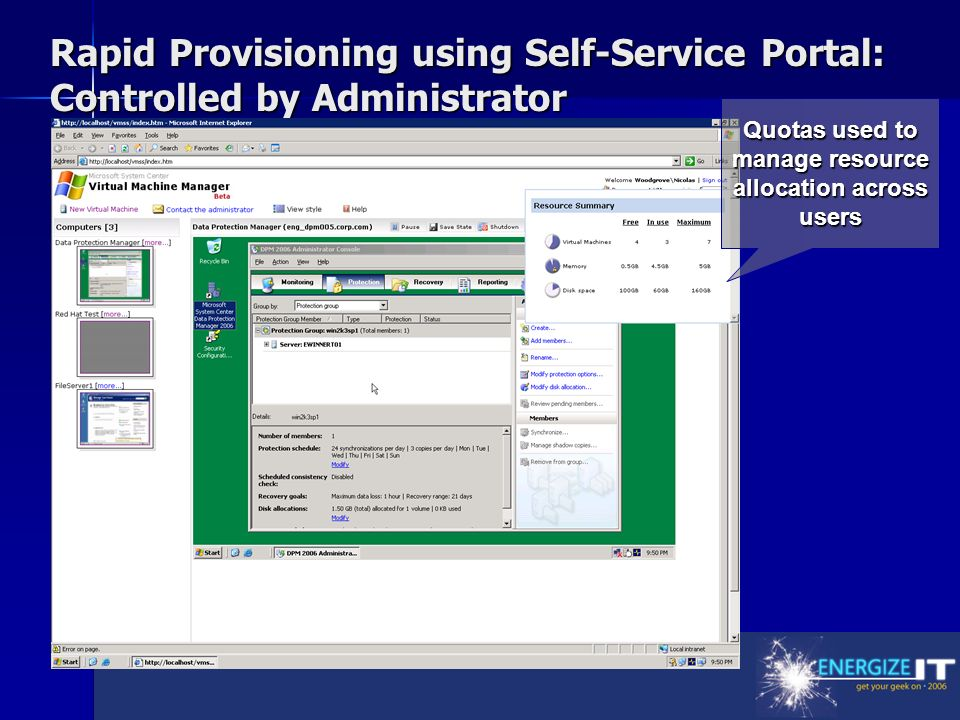 Rapid Provisioning using Self-Service Portal: Controlled by Administrator Quotas used to manage resource allocation across users