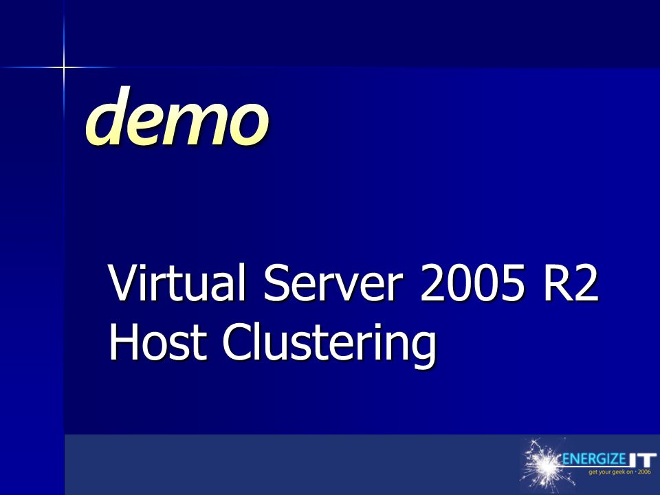 Demo Title Virtual Server 2005 R2 Host Clustering