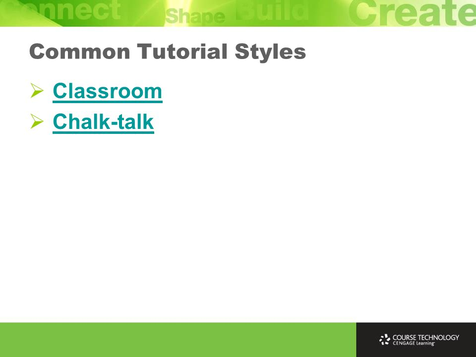 Classroom Chalk-talk Common Tutorial Styles