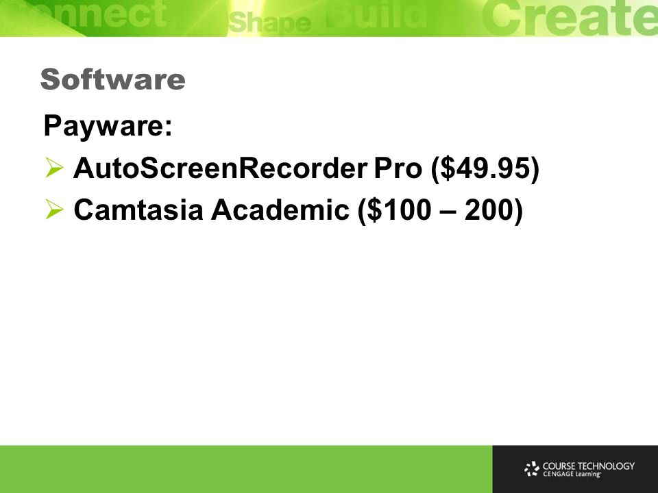 Payware: AutoScreenRecorder Pro ($49.95) Camtasia Academic ($100 – 200) Software