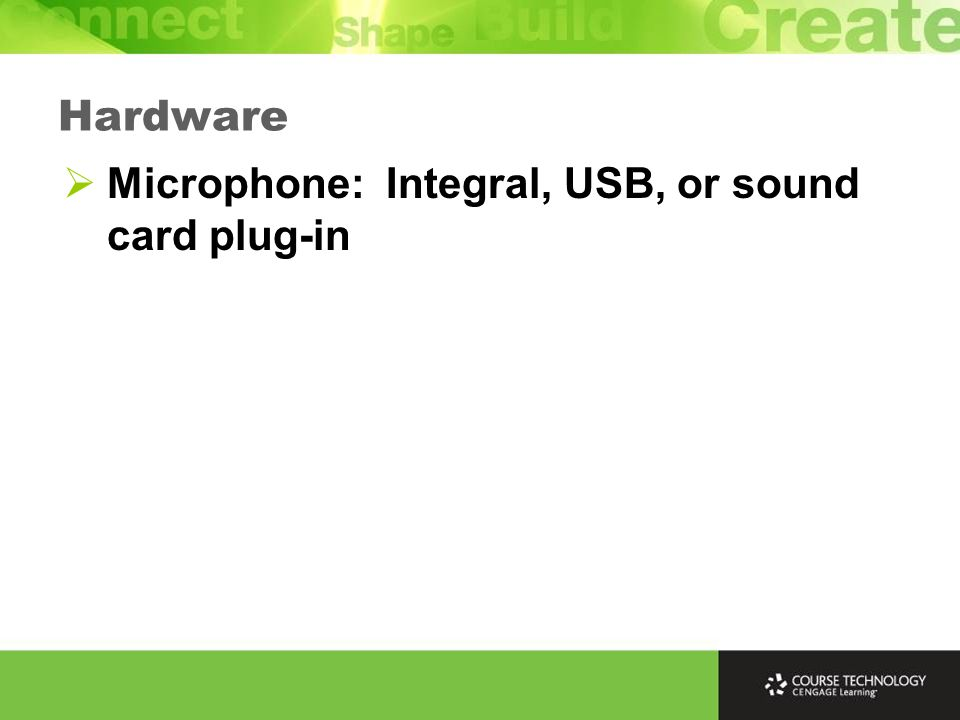 Microphone: Integral, USB, or sound card plug-in Hardware