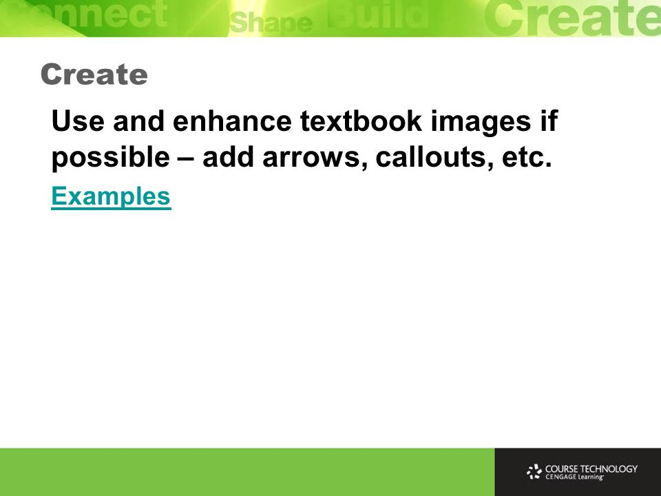 Create Use and enhance textbook images if possible – add arrows, callouts, etc. Examples