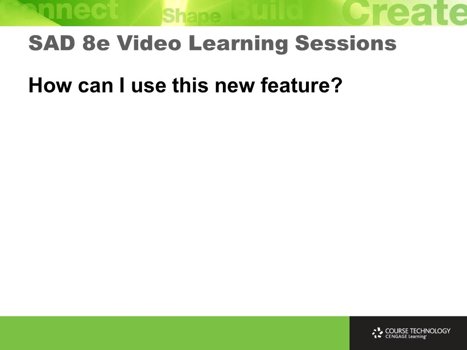 How can I use this new feature SAD 8e Video Learning Sessions