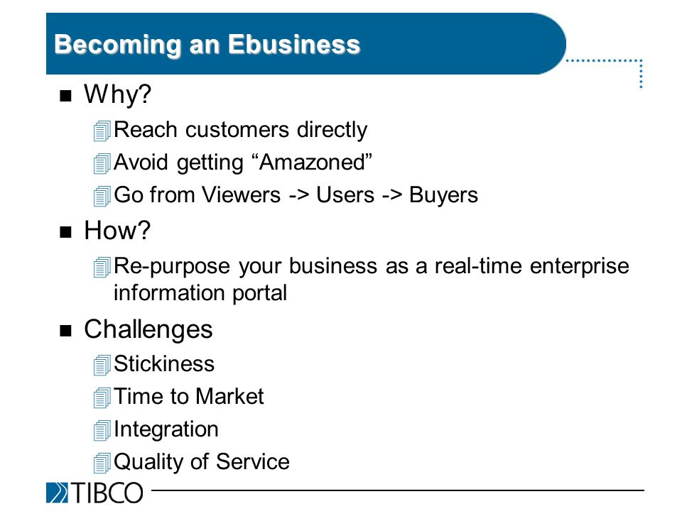 Becoming an Ebusiness n Why.
