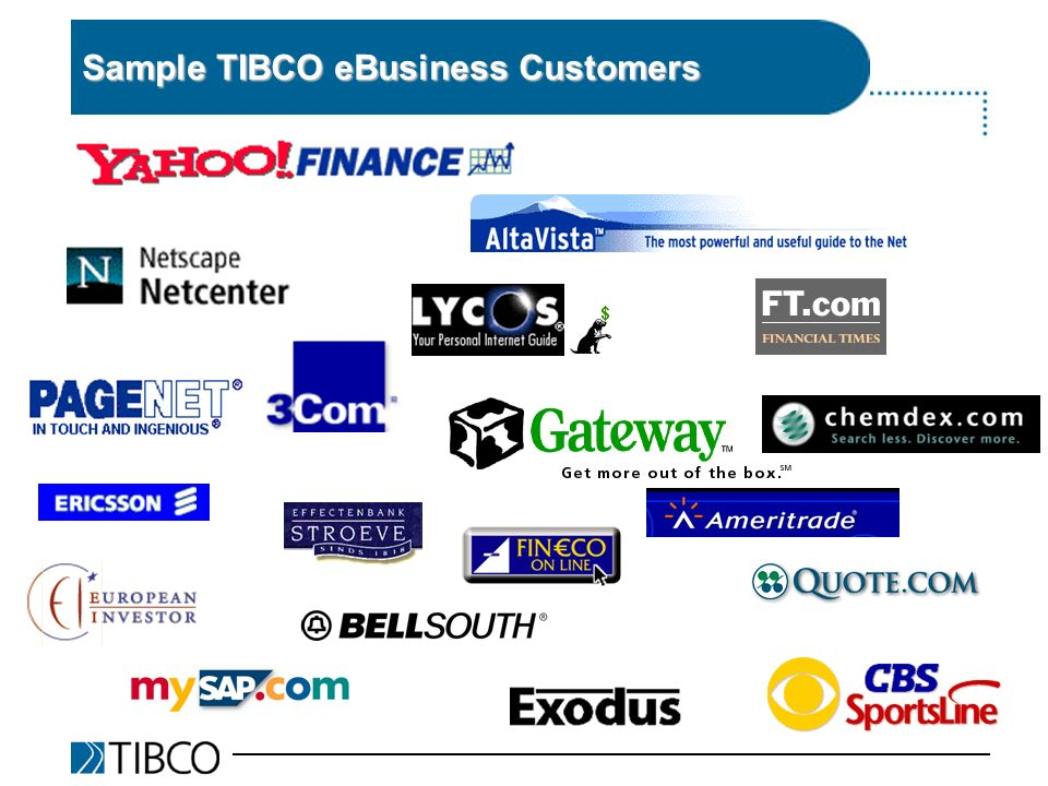 Sample TIBCO eBusiness Customers