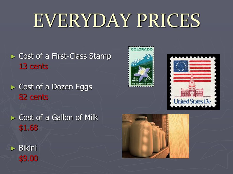 EVERYDAY PRICES Cost of a First-Class Stamp Cost of a First-Class Stamp 13 cents Cost of a Dozen Eggs Cost of a Dozen Eggs 82 cents Cost of a Gallon of Milk Cost of a Gallon of Milk$1.68 Bikini Bikini$9.00