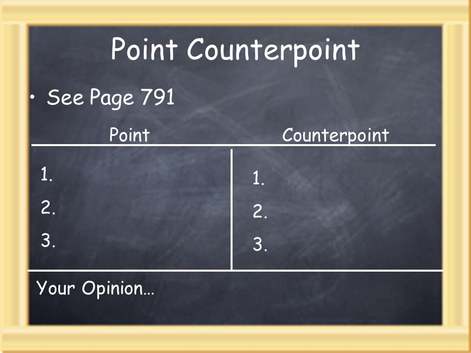 Point Counterpoint See Page 791 PointCounterpoint 1. 2. 3. 1. 2. 3. Your Opinion…