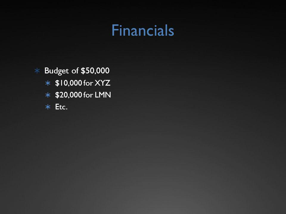 Financials Budget of $50,000 $10,000 for XYZ $20,000 for LMN Etc.