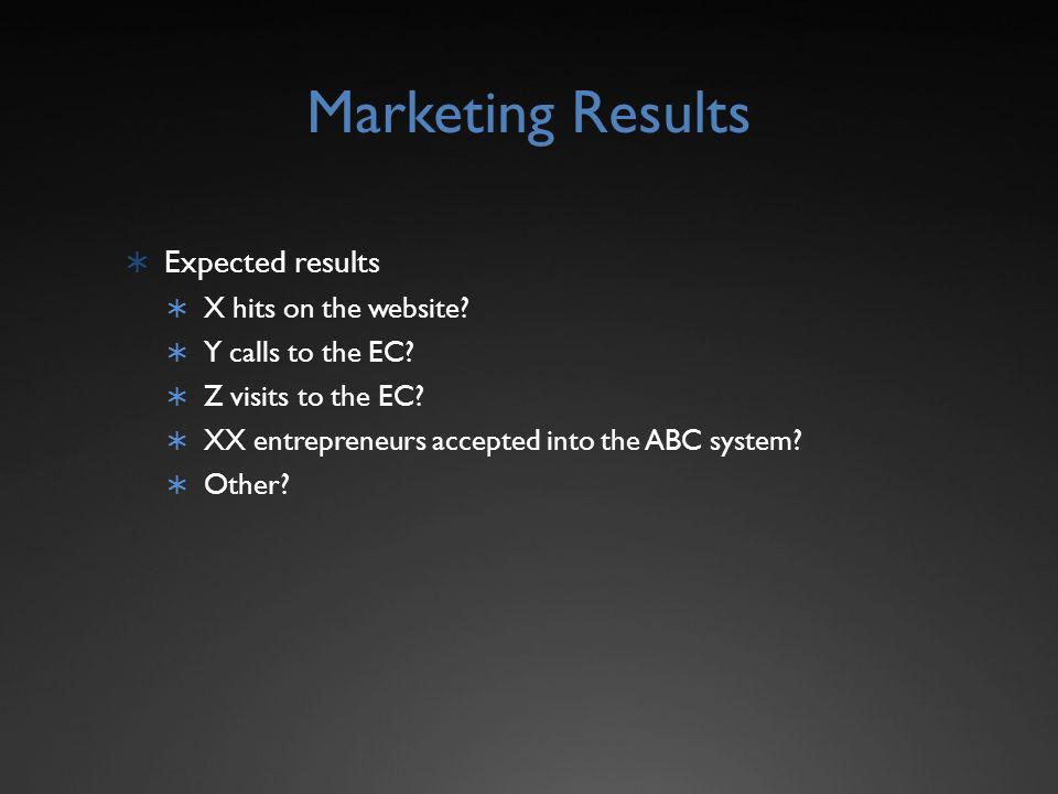 Marketing Results Expected results X hits on the website.
