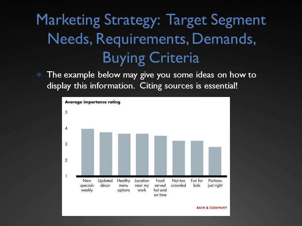 Marketing Strategy: Target Segment Needs, Requirements, Demands, Buying Criteria The example below may give you some ideas on how to display this information.