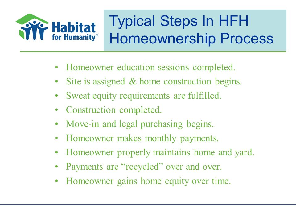 Typical Steps In HFH Homeownership Process Homeowner education sessions completed.