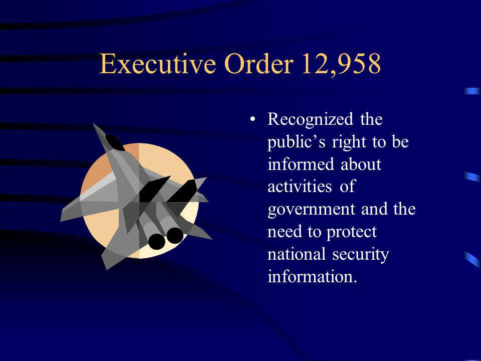 Executive Order 12,958 Recognized the publics right to be informed about activities of government and the need to protect national security information.