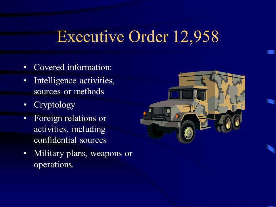 Executive Order 12,958 Covered information: Intelligence activities, sources or methods Cryptology Foreign relations or activities, including confidential sources Military plans, weapons or operations.
