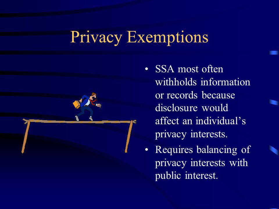 Privacy Exemptions SSA most often withholds information or records because disclosure would affect an individuals privacy interests.