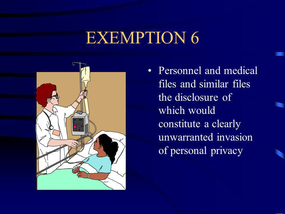 EXEMPTION 6 Personnel and medical files and similar files the disclosure of which would constitute a clearly unwarranted invasion of personal privacy