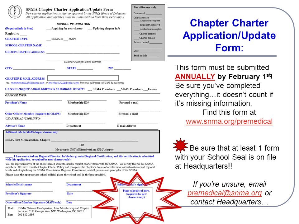 Chapter Charter Application/Update Form: This form must be submitted ANNUALLY by February 1 st .