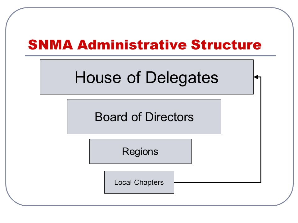 SNMA Administrative Structure House of Delegates Board of Directors Regions Local Chapters