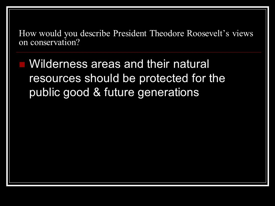 How would you describe President Theodore Roosevelts views on conservation.