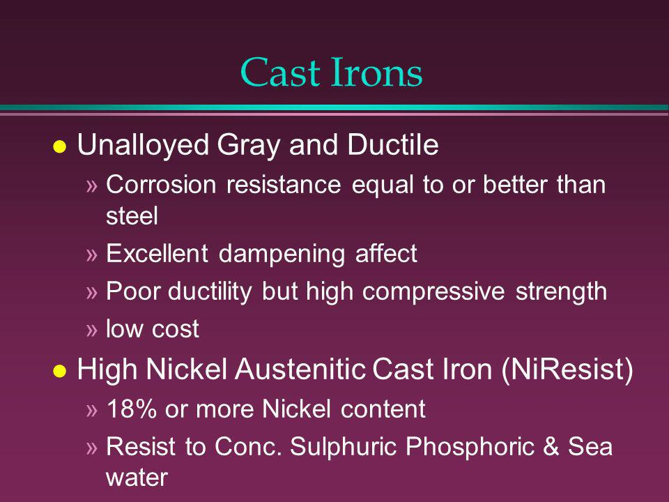 Additional Corrosion Resistant Alloys l Nickel »Used for Severe Caustic Environments l Nickel-Copper [Monel] [Cast M-35] »Excellent in Sea Water Applications l Zirconium & Titanium »Excellent When SCC is Problem for Other SS