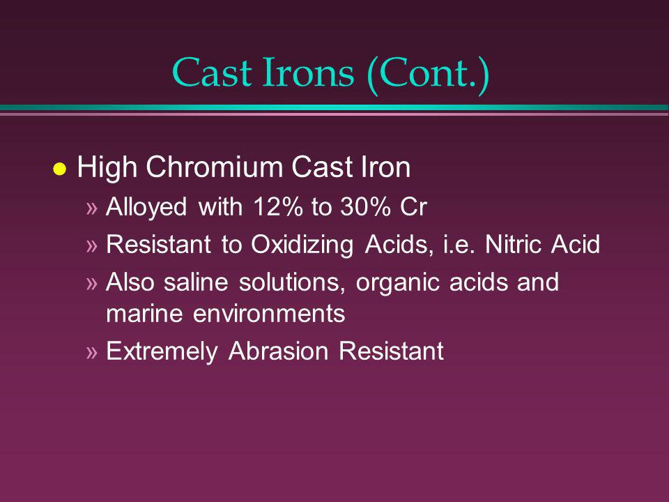 Cast Irons l Unalloyed Gray and Ductile »Corrosion resistance equal to or better than steel »Excellent dampening affect »Poor ductility but high compressive strength »low cost l High Nickel Austenitic Cast Iron (NiResist) »18% or more Nickel content »Resist to Conc.
