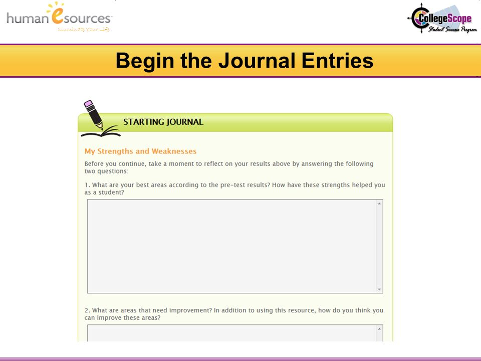 Illuminate Your Life Begin the Journal Entries