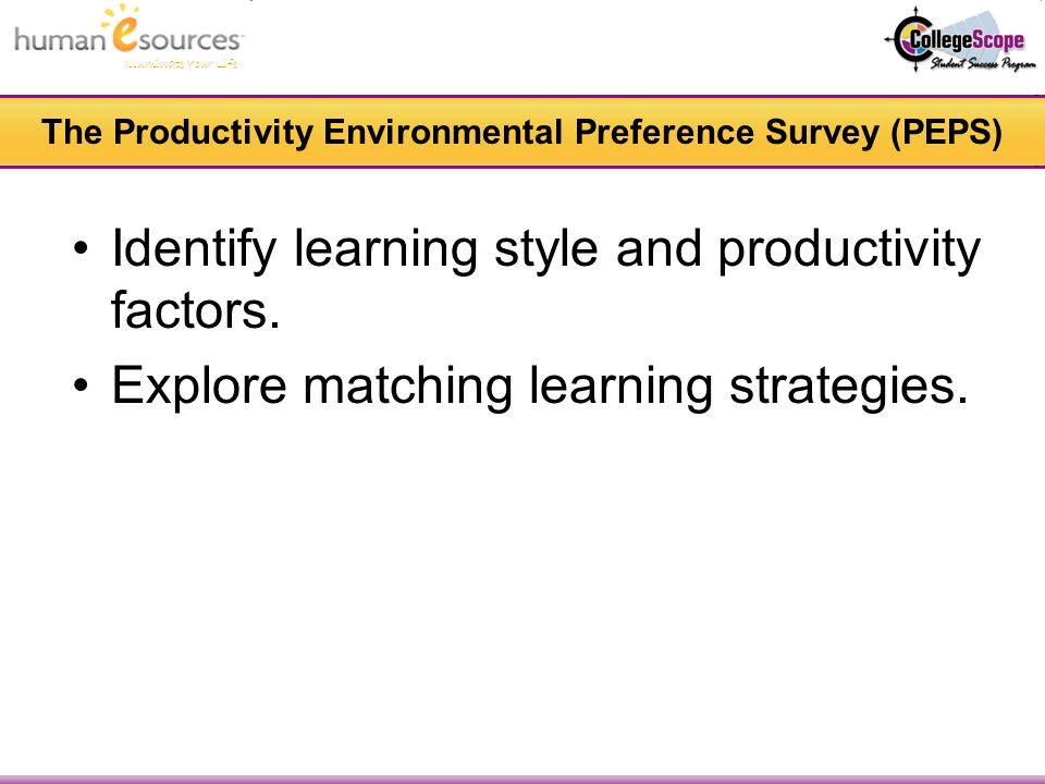 Illuminate Your Life The Productivity Environmental Preference Survey (PEPS) Identify learning style and productivity factors.