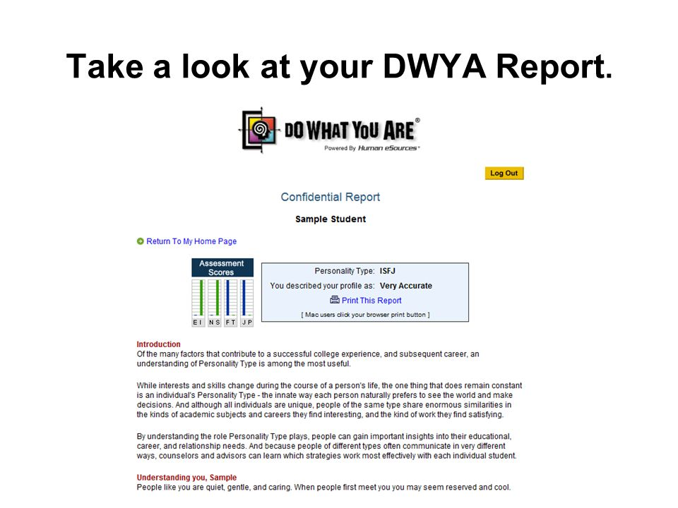 Take a look at your DWYA Report.