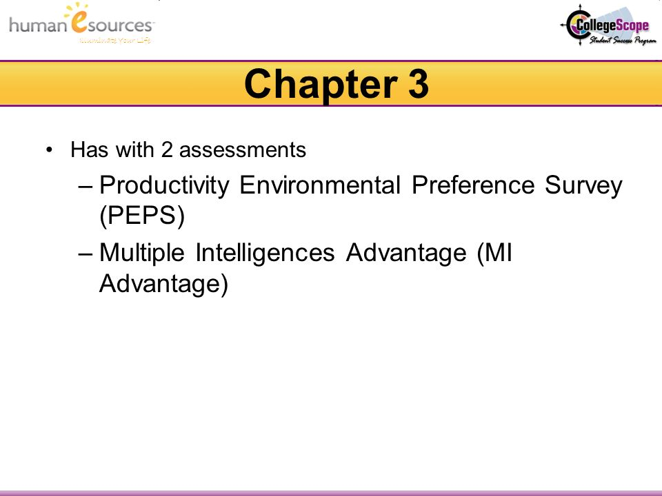 Illuminate Your Life Chapter 3 Has with 2 assessments –Productivity Environmental Preference Survey (PEPS) –Multiple Intelligences Advantage (MI Advantage)