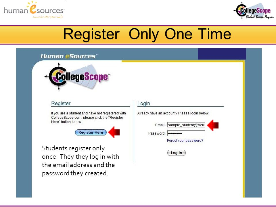Illuminate Your Life Register Only One Time Students register only once.