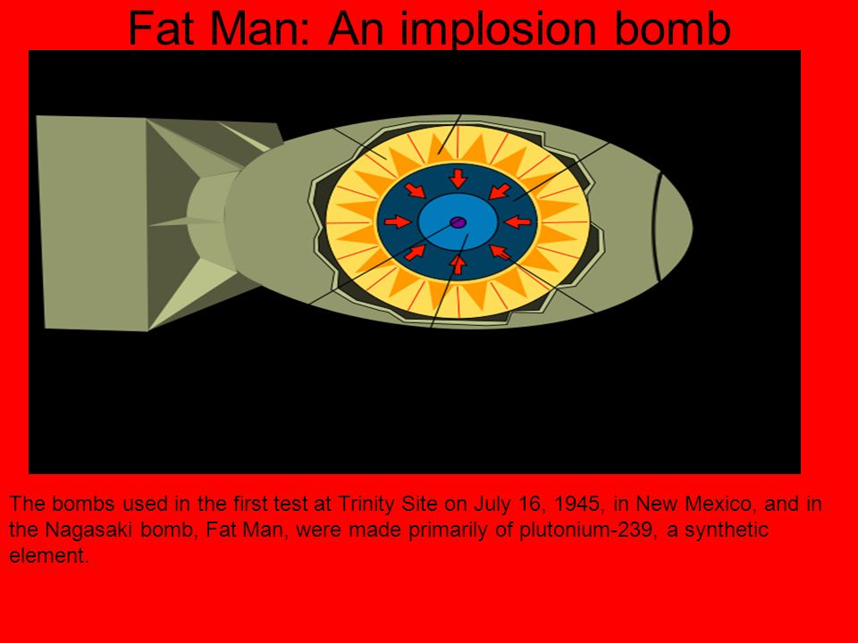 Fat Man: An implosion bomb The bombs used in the first test at Trinity Site on July 16, 1945, in New Mexico, and in the Nagasaki bomb, Fat Man, were made primarily of plutonium-239, a synthetic element.
