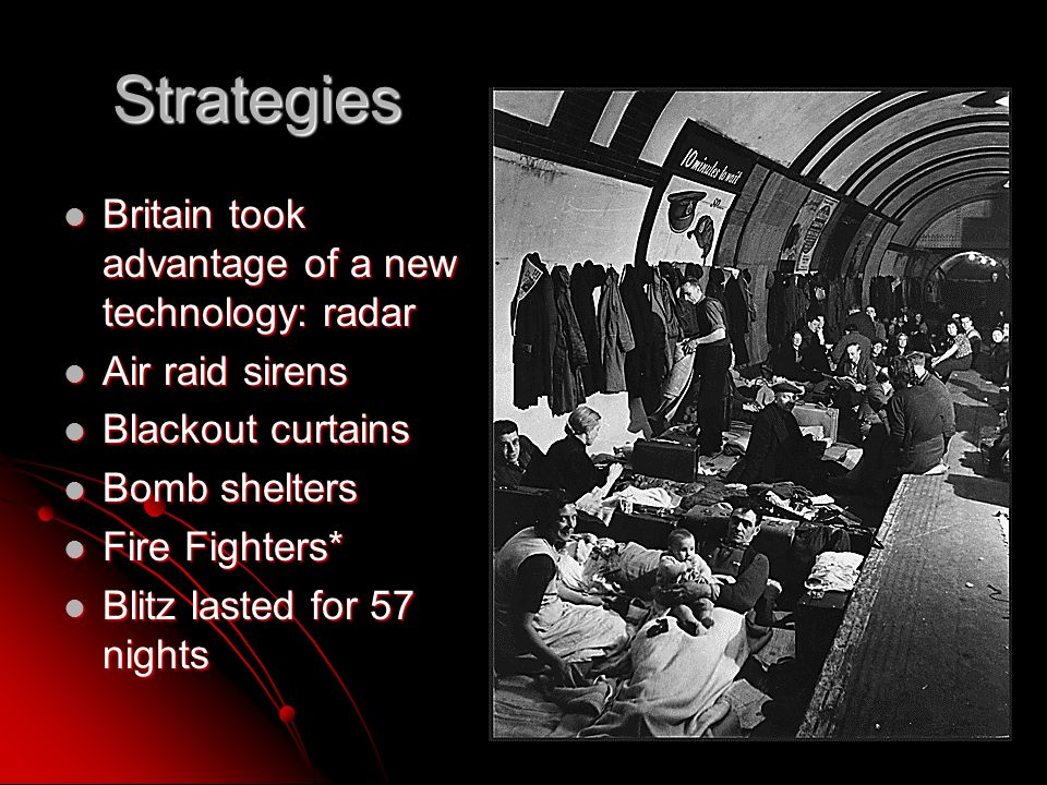 Strategies Britain took advantage of a new technology: radar Britain took advantage of a new technology: radar Air raid sirens Air raid sirens Blackout curtains Blackout curtains Bomb shelters Bomb shelters Fire Fighters* Fire Fighters* Blitz lasted for 57 nights Blitz lasted for 57 nights