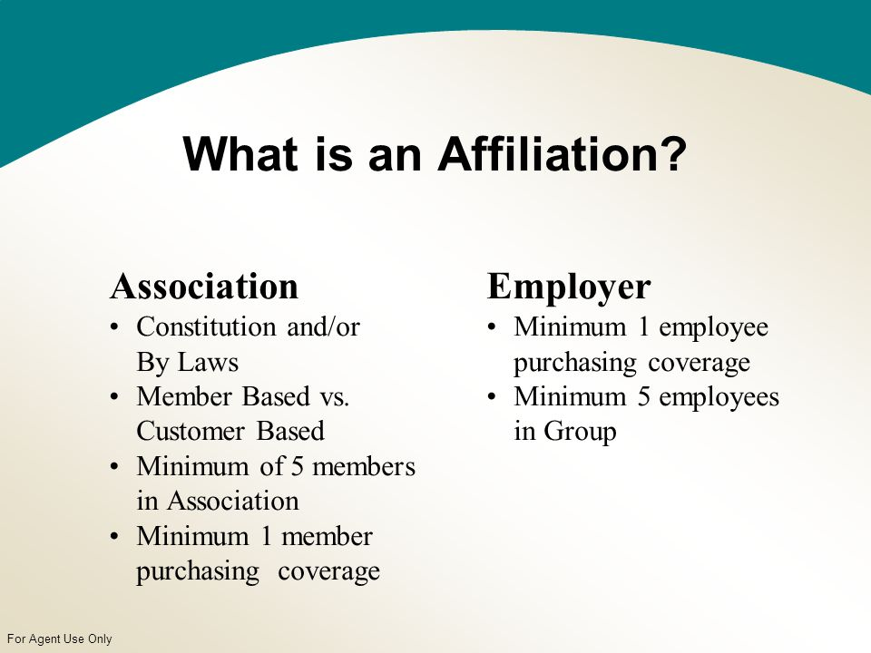 For Agent Use Only What is an Affiliation. Association Constitution and/or By Laws Member Based vs.