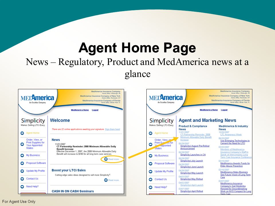 For Agent Use Only Agent Home PageAgent Home Page News – Regulatory, Product and MedAmerica news at a glance