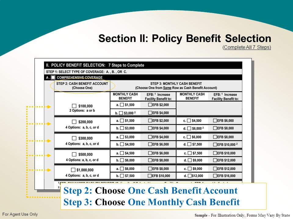 For Agent Use Only Step 2: Choose One Cash Benefit Account Step 3: Choose One Monthly Cash Benefit Section II: Policy Benefit Selection (Complete All 7 Steps) Sample - For Illustration Only, Forms May Vary By State