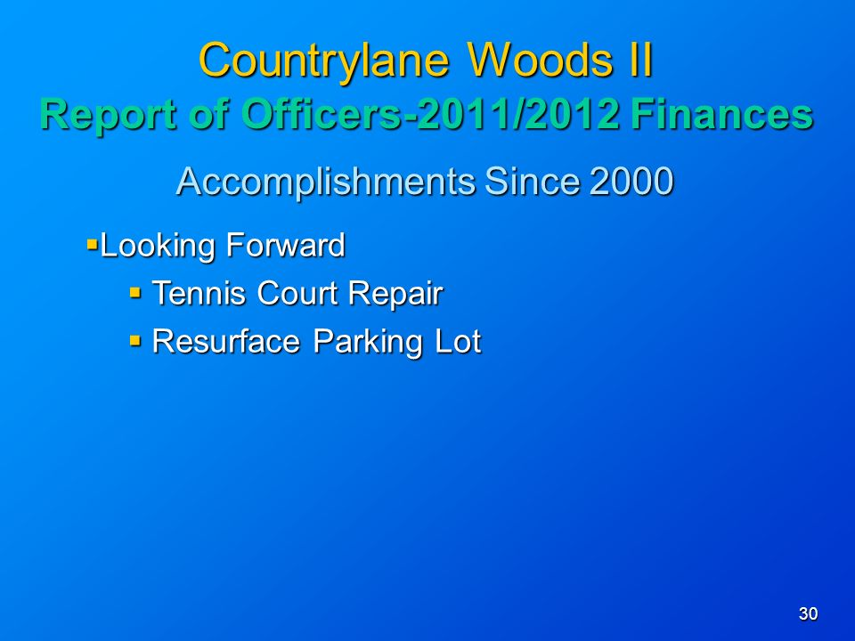 Accomplishments Since Countrylane Woods II Report of Officers-2011/2012 Finances Looking Forward Looking Forward Tennis Court Repair Tennis Court Repair Resurface Parking Lot Resurface Parking Lot