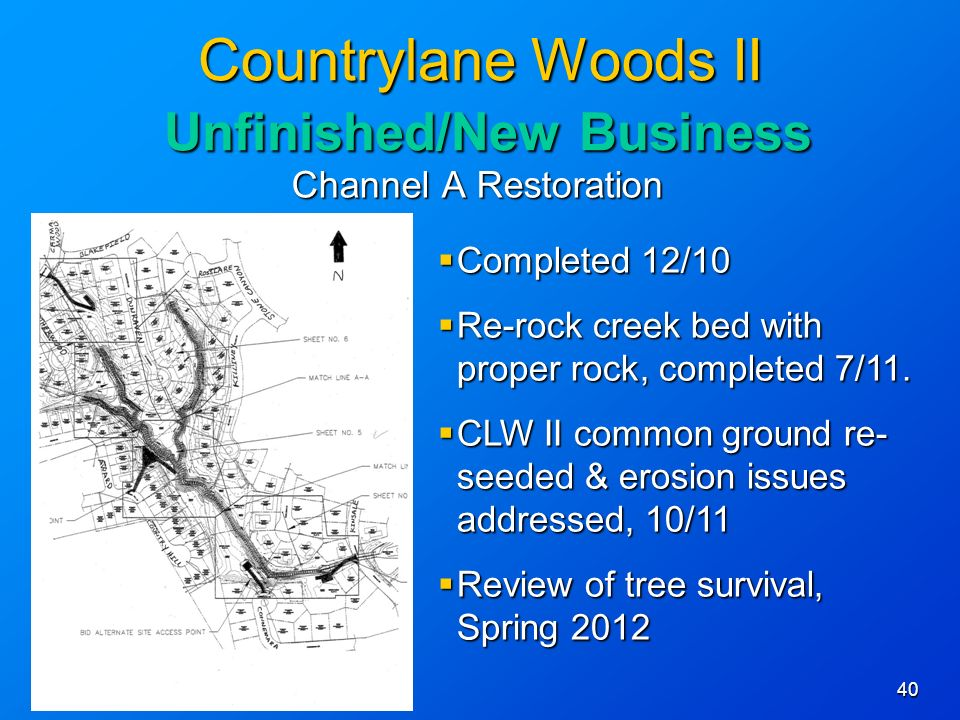 40 Countrylane Woods II Unfinished/New Business Channel A Restoration Completed 12/10 Completed 12/10 Re-rock creek bed with proper rock, completed 7/11.